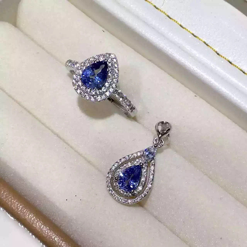 2017 Top Fashion Qi Xuan_Fashion Jewelry_Blue Stone Jewelry Sets_S925 Solid Silver Woman Jewelry Sets_Factory Directly Sales 2017 rushed qi xuan fashion jewelry