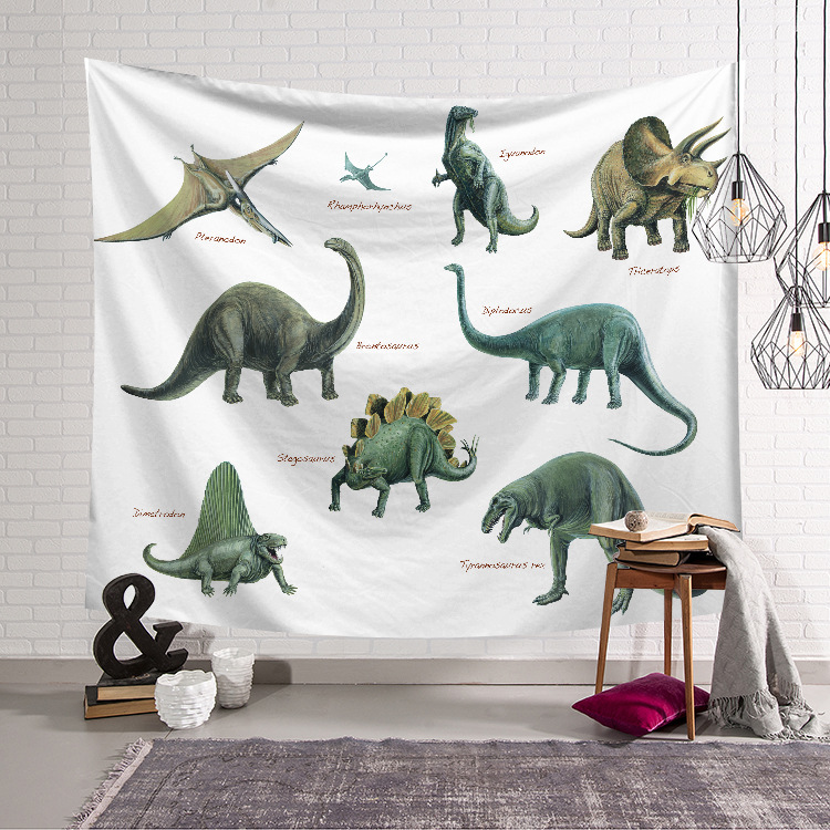 FOURETAW Fashion Dinosaur Printed Home Kitchen Table Witchcraft Decorative Hippie Mandala Macrame Bohemian Wall Hanging Tapestry in Tapestry from Home Garden