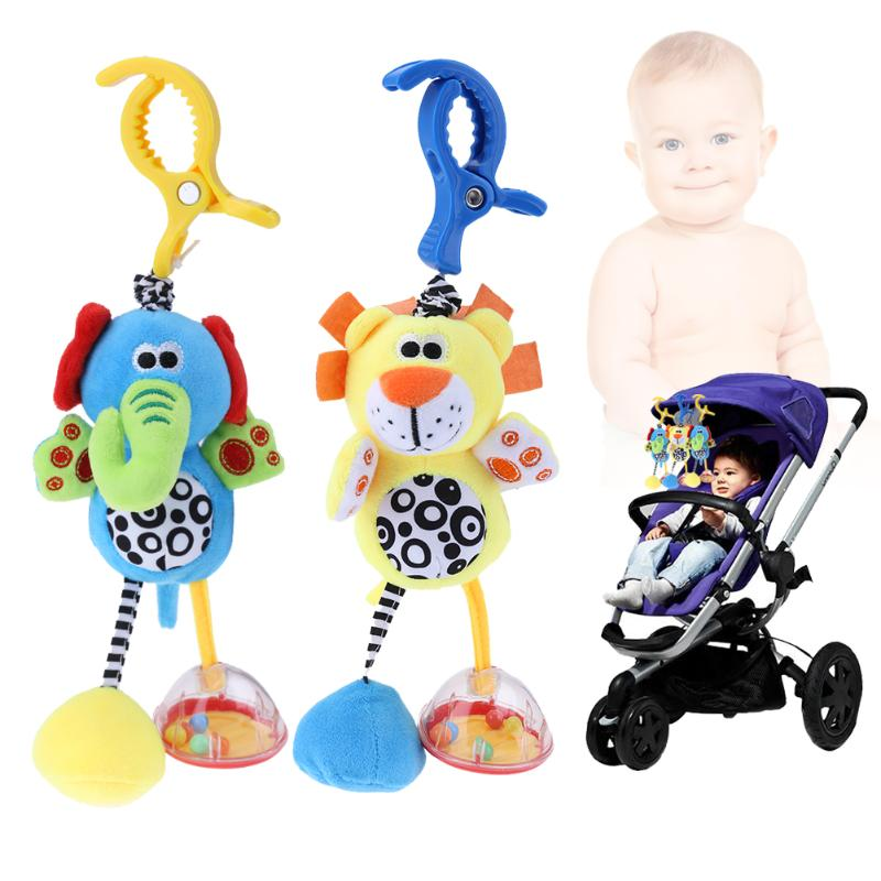 Baby Kids Toys Rattles Soft Plush Animal Elephant And Lion Clip Baby Hanging Toys Dolls Stroller Crib Hanging Wind Chimes