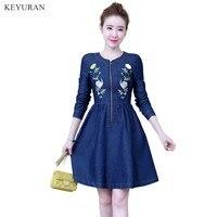 Flower Embroidery Vintage Zipper Denim Dress Plus Size Women Long Sleeve Back Bird Embroidered Spring Autumn