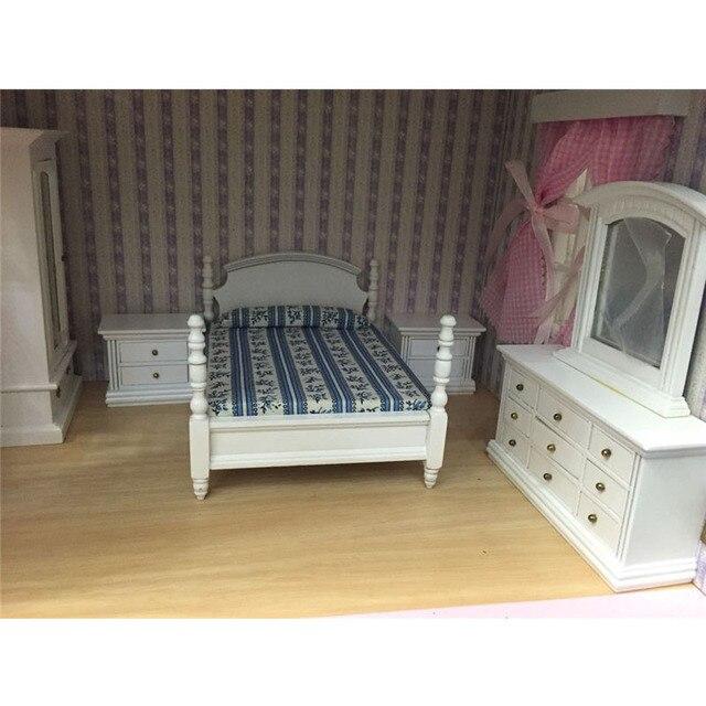 Doub K 1 12 Puppenhaus Mobel Spielzeug White Blue Miniatur Bett