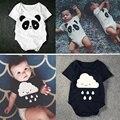 Ropa del bebé de las mamás se preocupan de lluvia de dibujos animados panda mamelucos del bebé del algodón de la corto manga del bebé del desgaste infantil del mono de niños niñas ropa