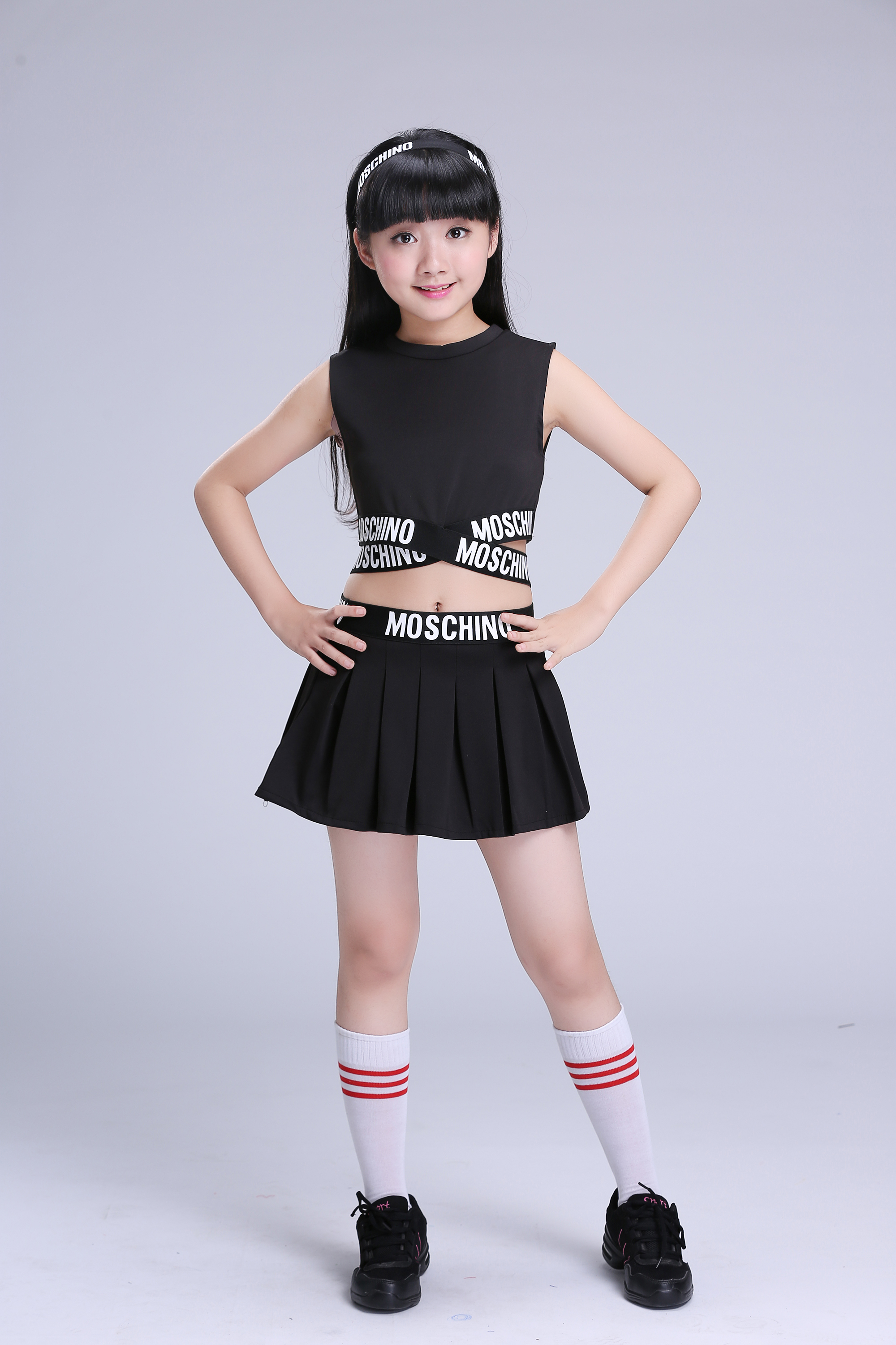 Girls Black Jazz Dance Performance Hip Hop Clothing Childrens Cheerleading -7912