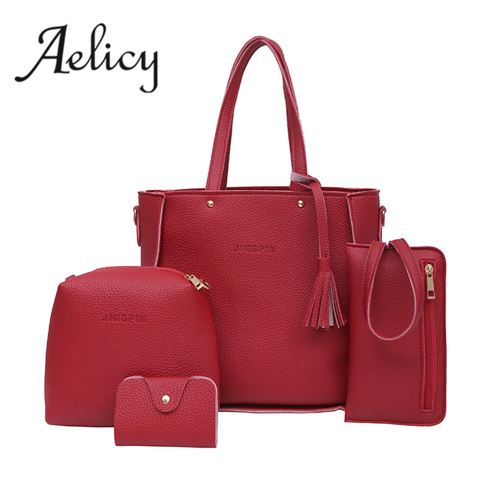 Aelicy Women Four Set Handbag Shoulder Bags Four Pieces Tote Bag Crossbody Wallet Bags For Women 2017 Bolsa Feminina Bolsas 0824 women handbag shoulder bag messenger bag casual colorful canvas crossbody bags for girl student waterproof nylon laptop tote