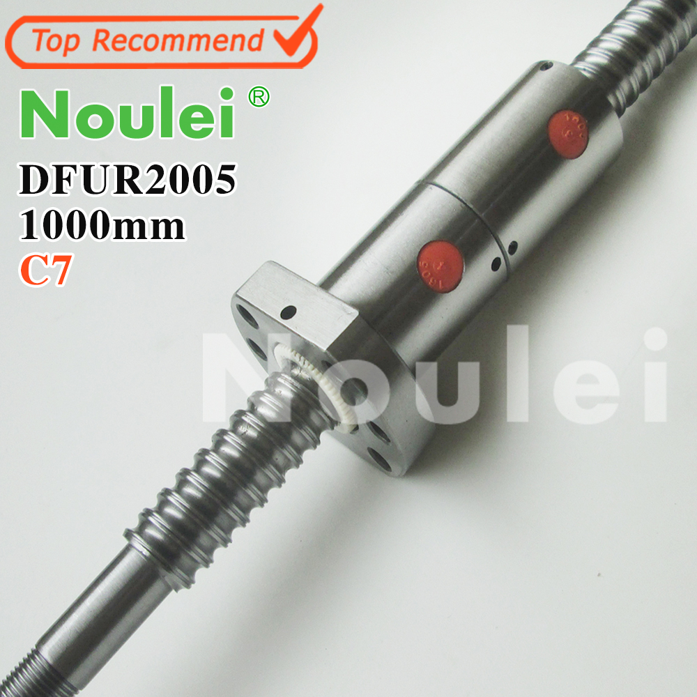 Noulei 2005 C7 1000mm ball screw 5mm lead with DFU2005 ballnut + end machined for CNC diy kit DFU set tbi 2510 c3 620mm ball screw 10mm lead with dfu2510 ballnut end machined for cnc diy kit dfu set