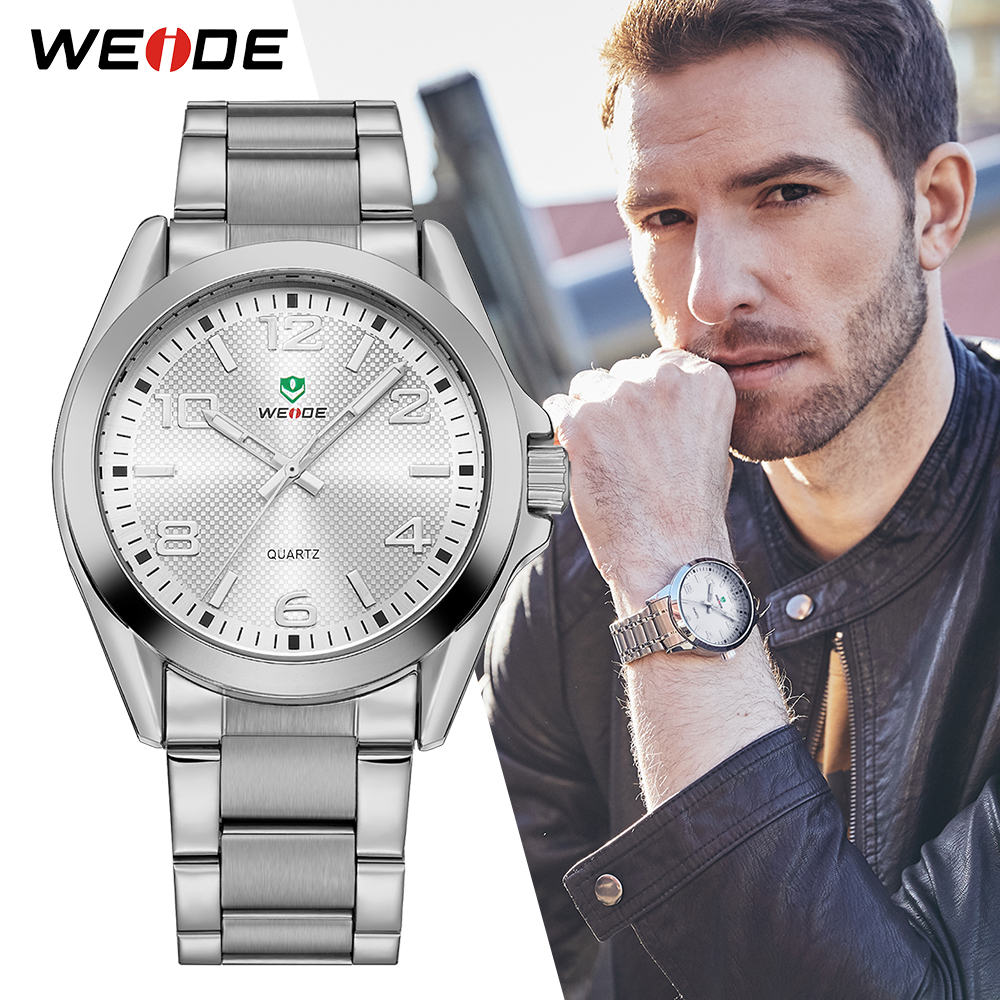 WEIDE Men Sports Watch Business Casual Analog Date Quartz Stainless Steel Strap Wrist watches Relogio Masculino Clock Horloges nibosi men watch full stainless steel mesh strap business watches men s quartz date clock men wrist watch relogio masculino
