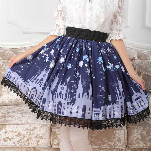 4f4b5de5ee4 XS-4XL Plus size Cute Starry Sky Skirts Castle Lolita Dark Blue Pleated  Knee Length Skirt High quality Cosplay Stylish Skirts