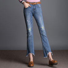 FOKINOFE Elastic Embroidery Flowers Ankle Length Boot Cut Woman Jeans Torn Edges Jeans 2017 Plus Size Casual Flare Jeans