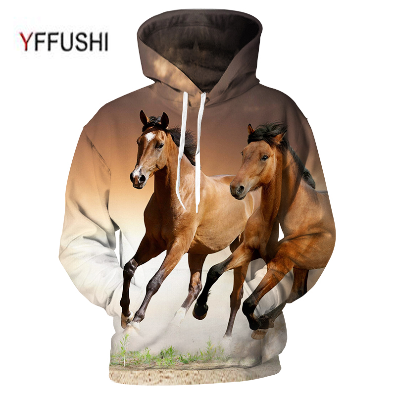 YFFUSHI 2018 Male Hoodies 3D Men Hooded Pullover Sweatshirts Animal Print Pullovers Casual Pocket Men Outwear Plus Size 5XL