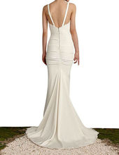 Long Mermaid Wedding Dress Spaqhetti Strap Pleat Backless Sexy Beach Bridal Gown