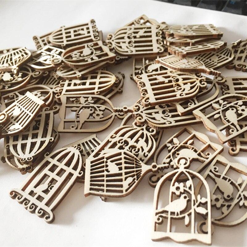 Cage à oiseaux en bois naturel | 50 pièces, Scrapbooking, artisanat pour embellissements, décoration artisanale, artisanat bricolage fait à la main