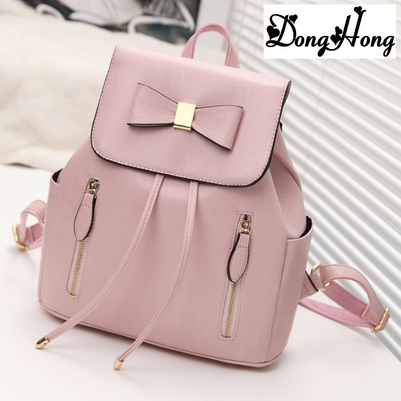 2017 Women Bag Preppy Backpack Leather Student Zipper Bags Solid Pendants Preppy Sac Casual Backpacks Teenagers