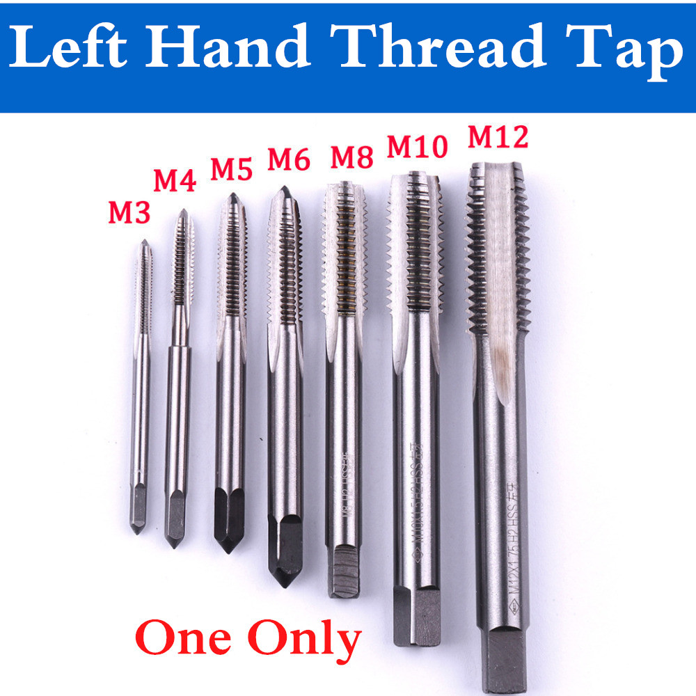 1pc M3/M4/M5/M6/M8/M10/M12 HSS Left Hand Thread Tap Machine Straight Fluted Screw Thread Metric Plug Hand Tap Hand Tool