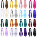 24 Colors Women Heat Resistant Pink Black Blue Red Yellow White Blonde Purple Straight Cosplay Wigs 80cm