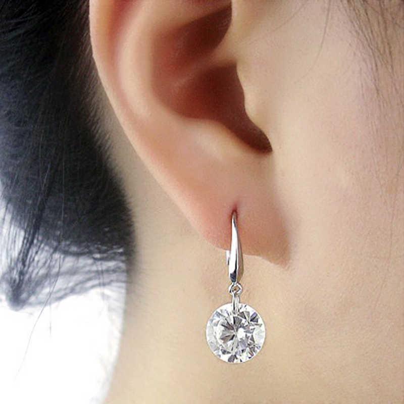 1 çift yeni moda kadınlar küpe kulak kancası taklit kristal Rhinestone Dangle küpe kadın takısı hediyeler