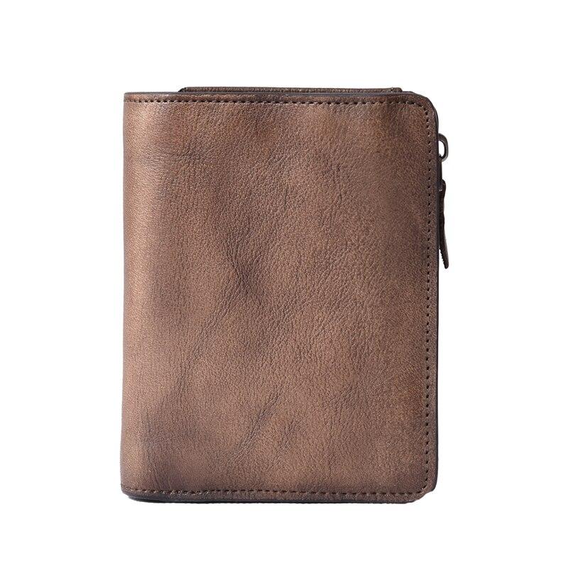 100% Genuine Crazy Horse Cowhide Leather Men Wallet short Coin Purse Big Vintage Wallet Brand High Quality Vintage Designer