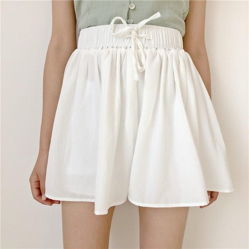 High Waisted Chiffon Skort Shorts Elastic Waist Pantskirt