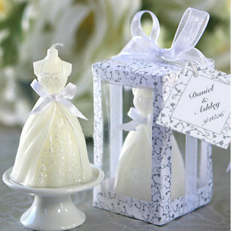 Creative White Elegant Boxed Bridal Bride Gown Dress Design Candle Wedding Party Decor Hot Sale