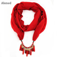 Ahmed Charm Race Silk Tassel Scarf Necklace For Women Bullet Pendant Scarves Choker Statement Fashion Jewelry