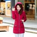 Desgaste neve jaqueta wadded jaqueta feminina 2016 outono e inverno as mulheres slim-longa de algodão acolchoado jaqueta outerwear casaco de inverno mulheres