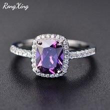 Anillos de circonita púrpura/Verde/azul/blanco/amarillo/rosa para mujer 925 Plata de Ley rellena anillo de piedra Multicolor HR051