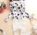 Mulheres primavera outono moda de nova bolinha magro Blusa camisas 2015 manga comprida O Neck branco Chiffon Camisetas Blusa Tops casuais
