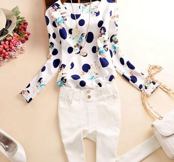 נשים באביב סתיו חדש אופנה פולקה דוט סלים חולצת סלים חולצה 2015 שרוול ארוך O- צווארון לבן שיפון Camisetas Blusa מקרית חולצות