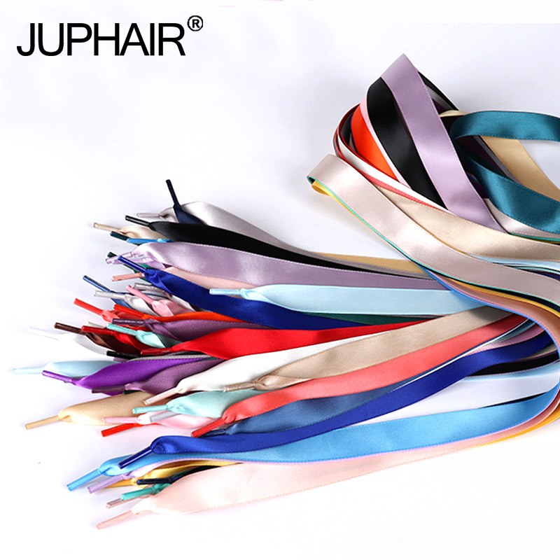 3 Pairs TV With Satin Ribbon Multicolor Lace Smooth Bud Silk Wide Flat Shoelaces Sports Shoes Laces Casual Lace Ribbon 30 colors 10 25yards new arrive 3 8 10mm satin ribbon polka dots printed ribbon with white dots diy hairbow accessories more color