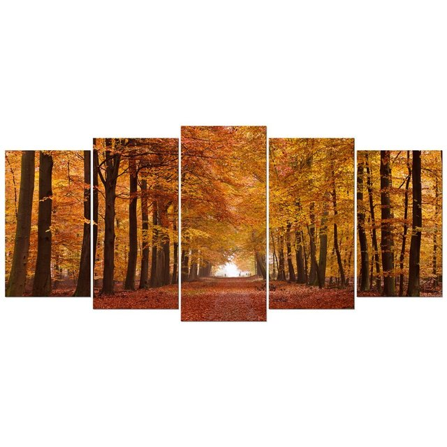 e7f48bd4a1f Autumn Forest Large Modern 5 Panels Canvas Print Landscape Picture Paint on Canvas  Wall Art for