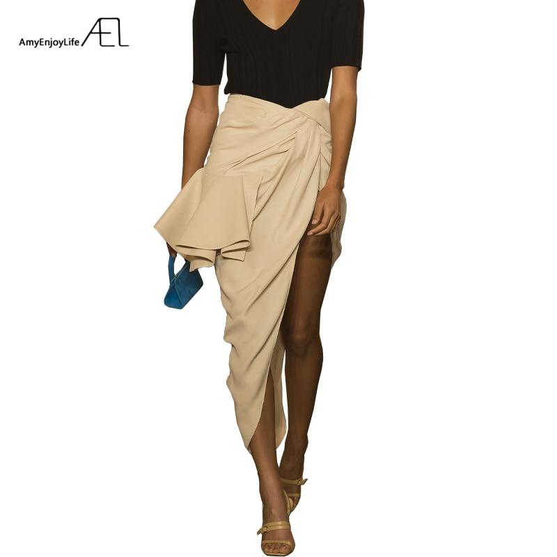 AEL High Split Skirt Draped Asymmetric Woman New Runway Skirts 2019 Fashion Female Clothing Exclusive Customization