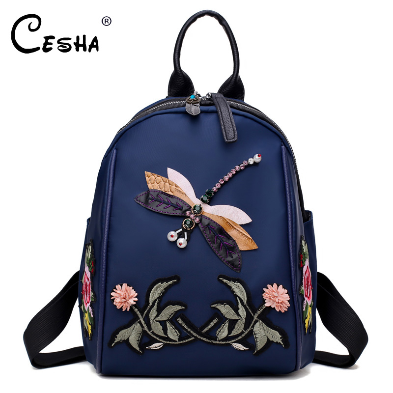 CESHA Fashion Embroidery Women's Backpack Female Quality Waterproof Nylon Shoulders Bag Pretty Style Dragonfly Pattern Backpacks