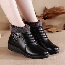 Leather Mother Boots 2018 Warm Winter Shoes Women Boots Booties Woman 2018 New Women Shoes Ankle Boots Non-slip Cotton Boots(China)
