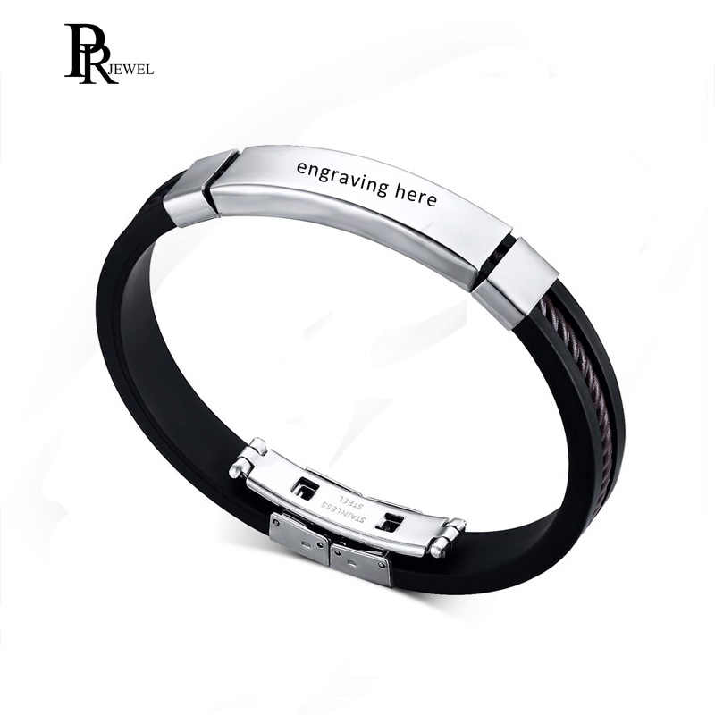 Customized Engraving Silicone Bracelets Personalized Men's Name ID Text Custom Men Bracelets Bangles