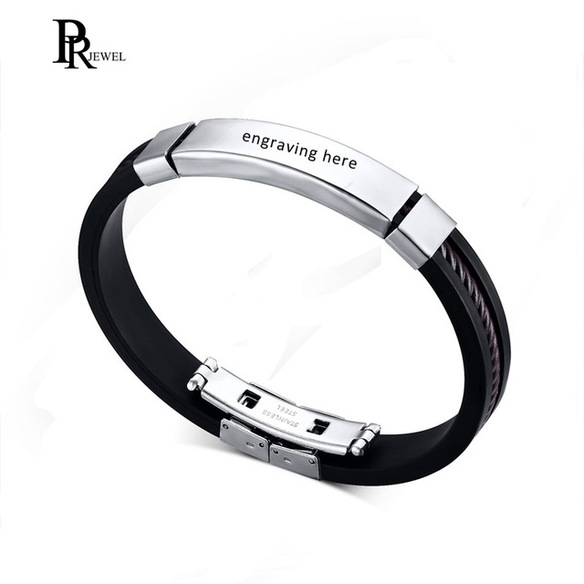 Customized Engraving Silicone Bracelets Personalized Men S Name Id Text Custom Bangles