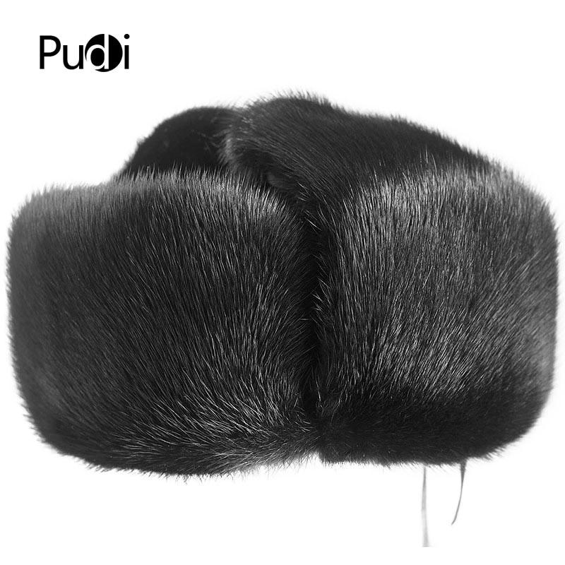 Pudi 170768 men mink fur hat 2017 New Fashion Men s Real Mink Fur Winter Warm