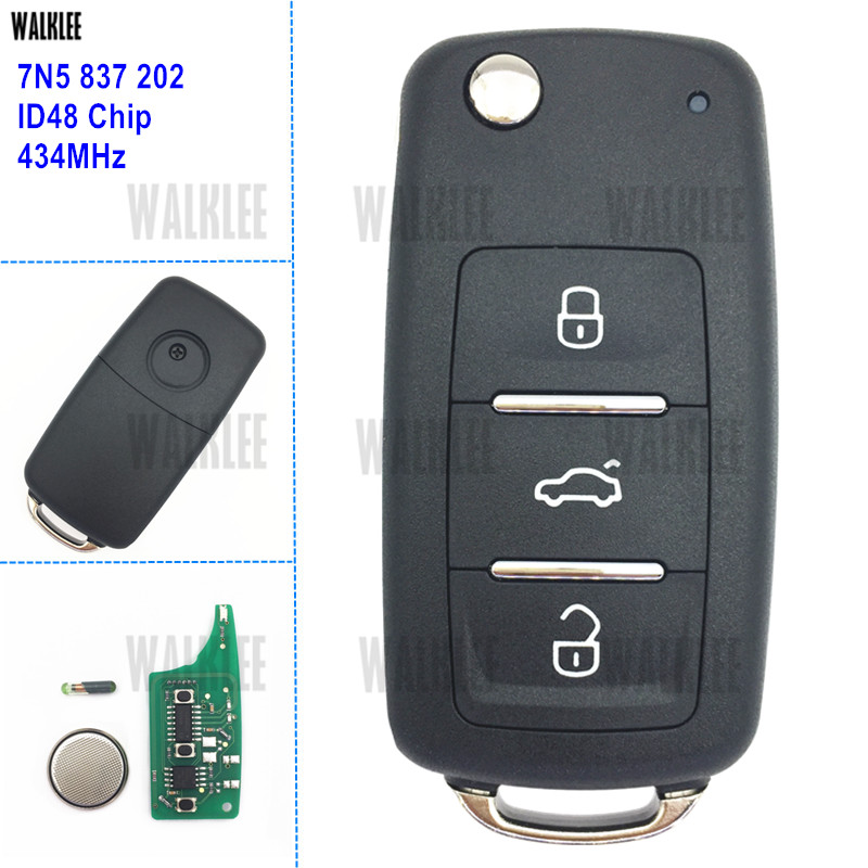WALKLEE 7N5 837 202 Remote Key For SEAT 7N5837202 Alhambra/Altea/Ibiza/Leon/Mii/Toledo 434MHz With ID48 Immobilizer