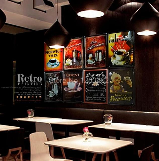 Whole Craft Vintage Coffee Tin Painted Metal Signs Painting Wall Decor For Home Club Bar