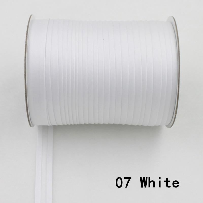 """100 ярд полиэстер 5/""""(15 мм) атласная косая лента косая Привязка сплошной цвет для пошив одежды «сделай сам» и обрезки - Цвет: 07    white"""