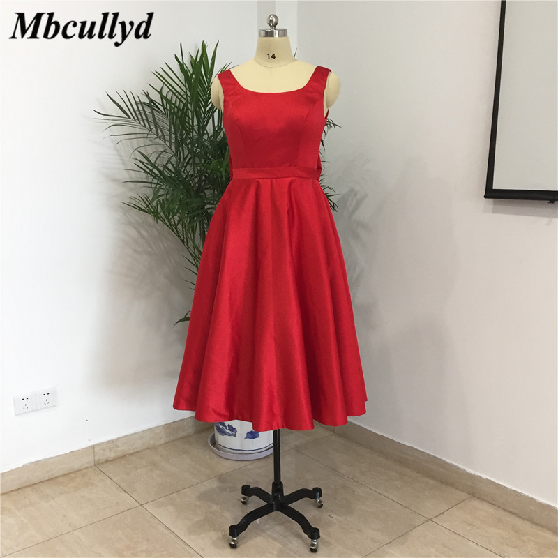 Mbcullyd Short Dress For Wedding Party For Woman 2019 Red Satin Knee Length Bridesmaid Dresses New Cheap Vestido De Festa Longo
