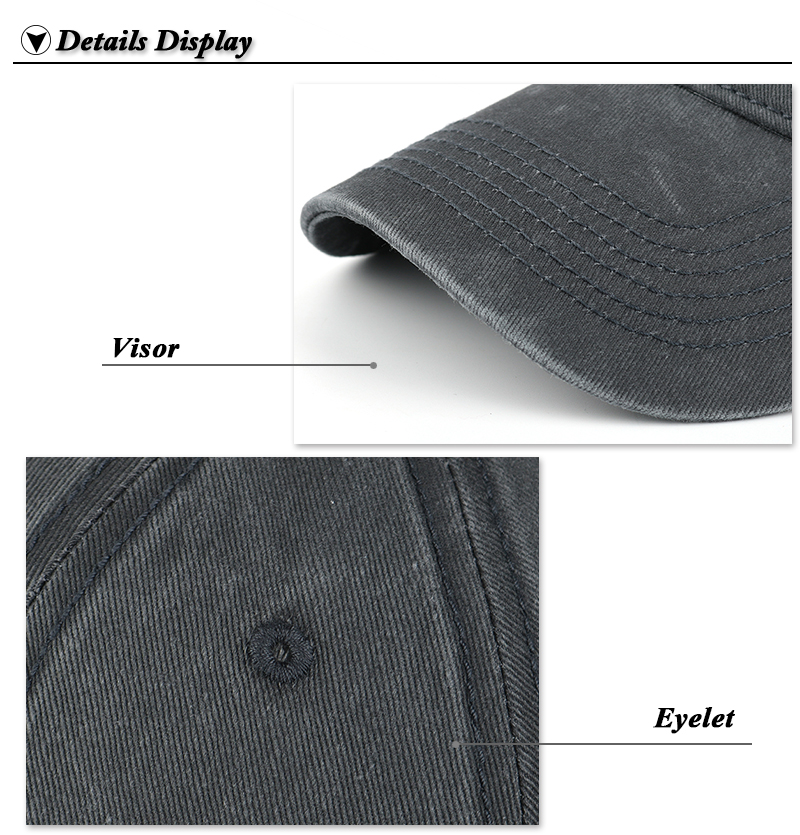 Pre-washed Cotton Denim Baseball Cap - Brim and Eyelet Detail Views