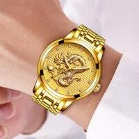 Relogio masculino Подлинная LIGE Для мужчин s часы лучший бренд класса люкс Золотой Дракон Скульптура кварцевые часы Для мужчин полный Сталь наручные