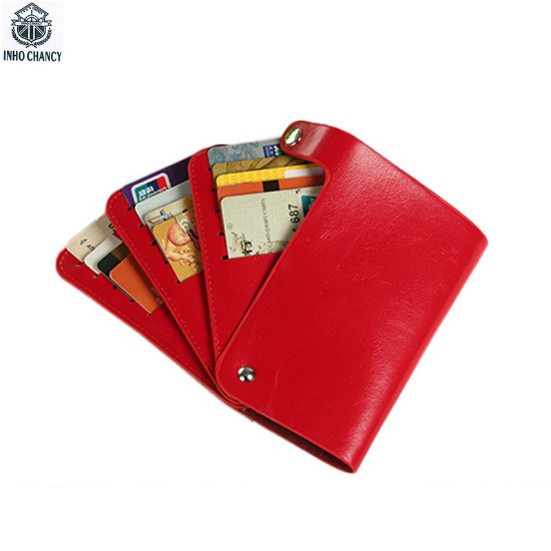 INHO CHANCY Brand Detachable Rotation Card Holder Fashion Patent Leather Credit Card Holder Ultra-thin Vertical Unisex Wallet ultra thin colorfulcascading pull out card holder wallet