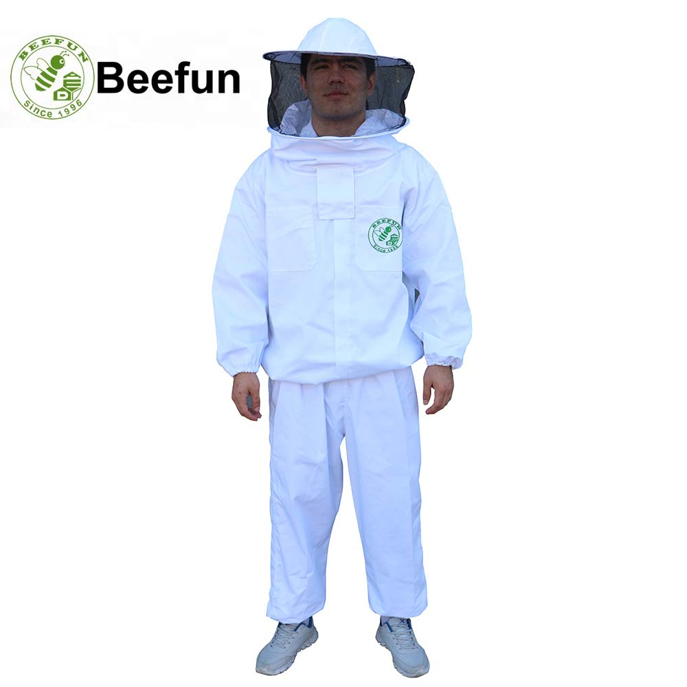 Beefun Protective Clothing Anti bee Beekeeper Bee Suit Breathable Mesh Veil Smock White Jackets Pants
