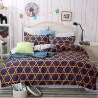 High Quality Black White Striped Plaid Bedding Set Cotton 1 Bed Sheet 1 Duvet Cover 2
