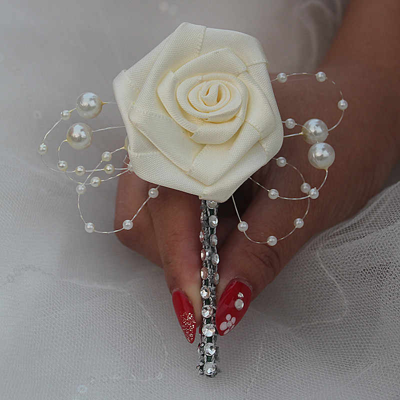 dbf3f751b6a42 Pearl Flowers Brooch Corsages Groom Boutonniere Wedding Flowers Pin Alloy  Dimoand Wedding Corsages Boutonniere Custom