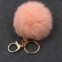 Fluffy Women Trinket Toy Key Ring Fur Ball Keychain Pompom Key Chain Pompon Keyring Charm Women Bag Pendant Wholesale 15PCS/LOT