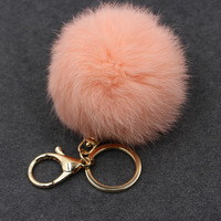Fluffy Women Trinket Toy Key Ring Fur Ball Keychain Pompom Key Chain Pompon Keyring Charm Women Bag Pendant Wholesale 15PCS/LOT