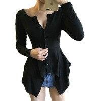 WAEOLSA Moda Kadın Siyah Peplum Bluzlar Hasebiyle Ön Gömlek Artı Boyutu Üstleri Bahar Kadın Asimetri Tasarım Bluz Chic En 2018