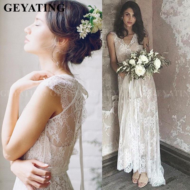 Bohemian Lace Wedding Dress Western Country Lace Beach Wedding Dress with Sash