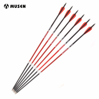 12/24pcs OD 7.8mm Carbon Arrows 30 Inches Archery Arrows with Red Black Plastic Feather for Recurve Bow Shooting Hunting